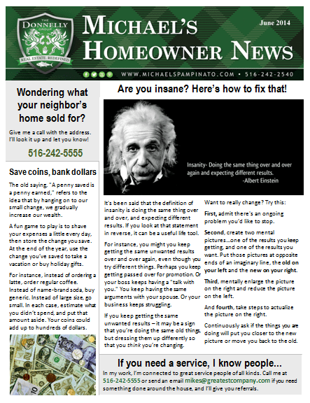 real estate newsletter samples