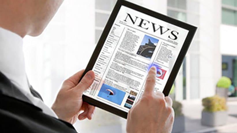 reading newsletter on ipad