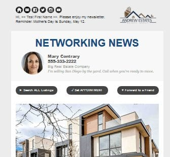 Real estate newsletter with correctly sized image