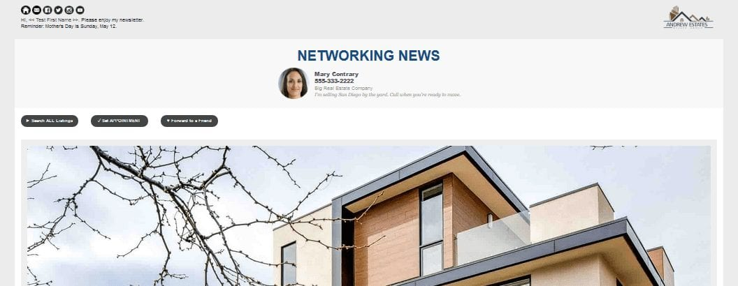Real estate newsletter with oversized image