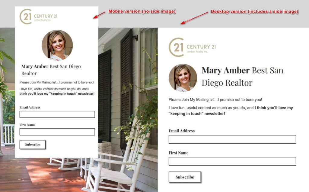 mailchimp real estate landing page sample