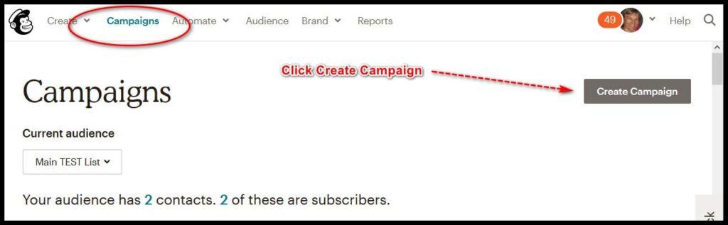 create a mailchimp campaign
