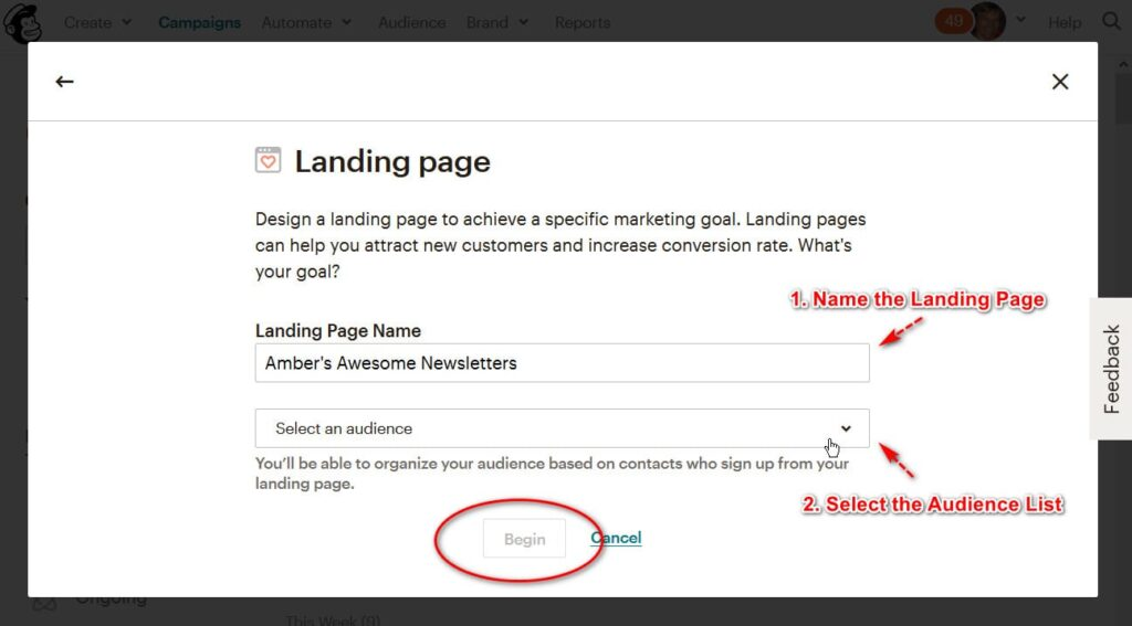 name your landing page