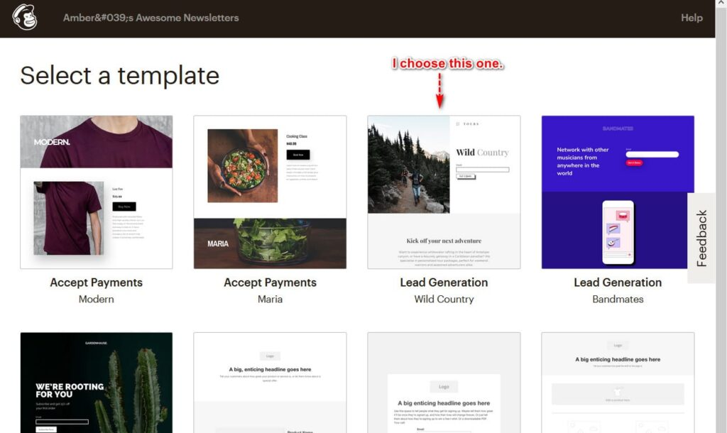 choose mailchimp template
